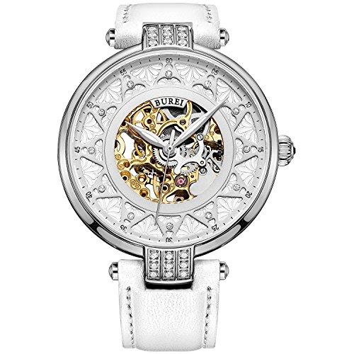 Burei Damen Automatik Uhr mit Silber Gold Saphir Objektiv und Echte weiss Leder Band