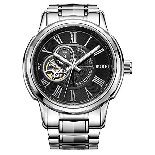 Burei Automatische Maenner Uhr mit Schwarzen Ziffern Analog und Christal Glass Metallarmband
