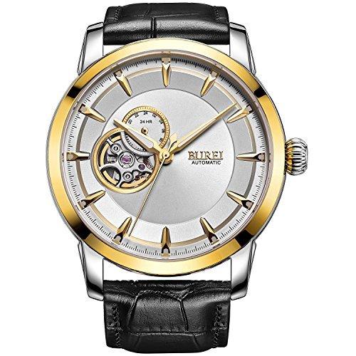 Burei Herren Automatisches Handgelenk Uhren mit Gold Luenette Weiss Zifferblatt schwarz Leder