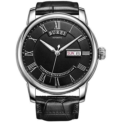 Burei Herren s Day Datum Automatisches Handgelenk Uhren Zeitmesser mit schwarzem Lederband