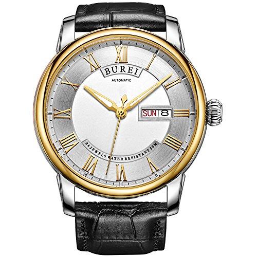 Burei Herren Automatisches Handgelenk Uhren mit Gold Luenette Weiss Zifferblatt schwarz Lederband