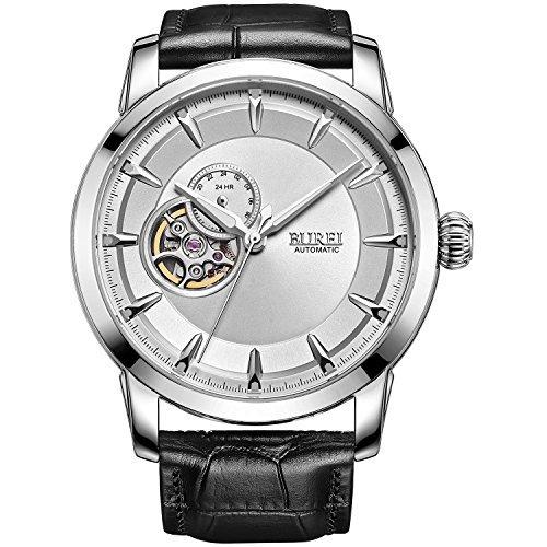 Burei Herren Skelett Automatisches Handgelenk Uhren mit weissem Zifferblatt schwarz Lederband