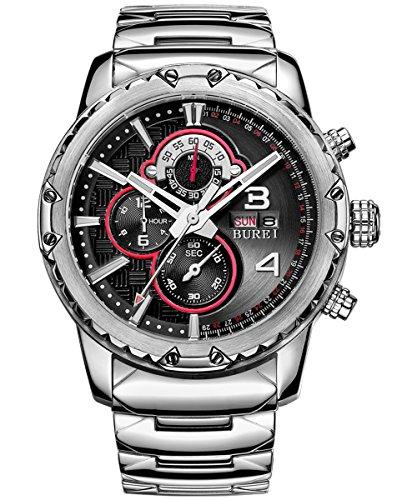 Burei Chronograph Tag und Datum Kalender Multifunktions Stoppuhr Armbanduhr Armbanduhr mit Edelstahl Band