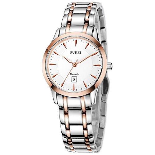 BUREI Damen Quarz Armbanduhr Rose Gold Datumsanzeige Edelstahlband
