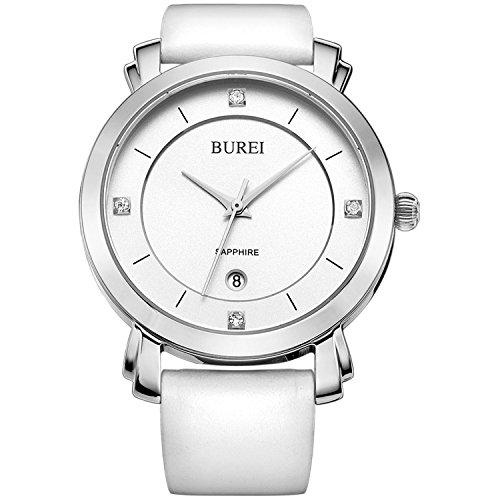 BUREI Damen Quarz Armbanduhr Datumsanzeige Lederband weiss