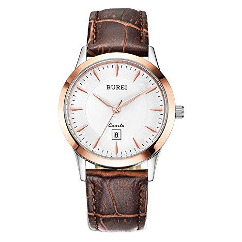 BUREI Damen Quarz Armbanduhr Datumsanzeige Lederband braun