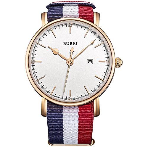 BUREI Damen Quarz Armbanduhr Datumsanzeige Rose Gold Textilband