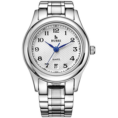 Burei Damen Praezise Quarz Handgelenk Uhren mit Datum Kalender und Edelstahl Armband