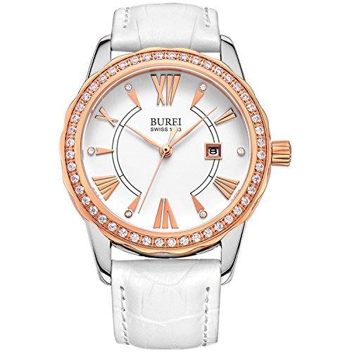 Burei Damen Daphne Rose Gold diamond accented Quarzwerk Armbanduhr mit weissem Leder Band