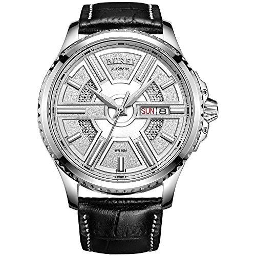 Burei Herren Edelstahl Automatik Uhr mit weissem Zifferblatt und schwarz Leder