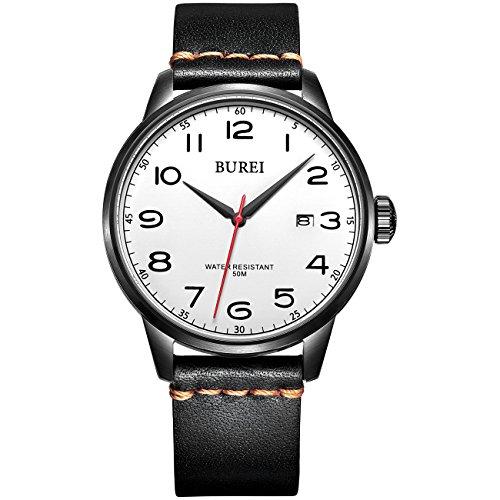 Burei Herren s Boy s Children s Datum Kalender Quarz einfachen Stil Weiss Zifferblatt Armbanduhr Armbanduhr mit schwarzem Lederband