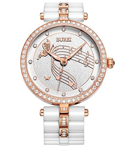 Burei Elegant Damen Swarovski crystal accented Keramik weiss Uhr mit Rose Gold Haende