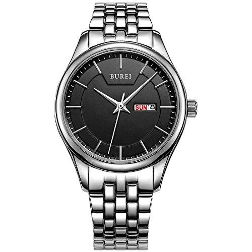 BUREI Elegante Damen Analoge Quarz Armbanduhr Schwarzes Ziffernblatt mit Tages und Datumsanzeige Edelstahlband