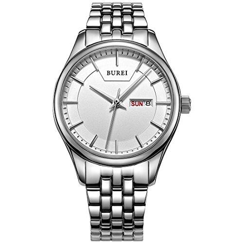 BUREI Elegante Damen Analoge Quarz Armbanduhr Weissem Ziffernblatt mit Tages und Datumsanzeige Edelstahlband