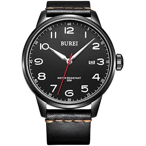 Burei Herren Handgelenk Quarz Uhren mit Mineral Kristall Schwarz Luminous Zifferblatt Lederband