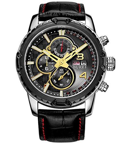 BUREI Herren Armbanduhr Chronograph Tages und Datumsanzeige Multifunktions Stoppuhr mit schwarzem Lederband