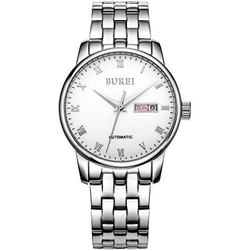 Burei Tag und Datum automatische Uhr mit Edelstahl Armband