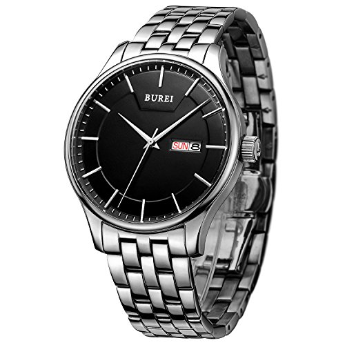 BUREI Herren Quarz Armbanduhr Datumsanzeige mit Edelstahlband