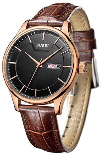 BUREI Herren Quarz Armbanduhr Tages und Datumsanzeige Lederband braun