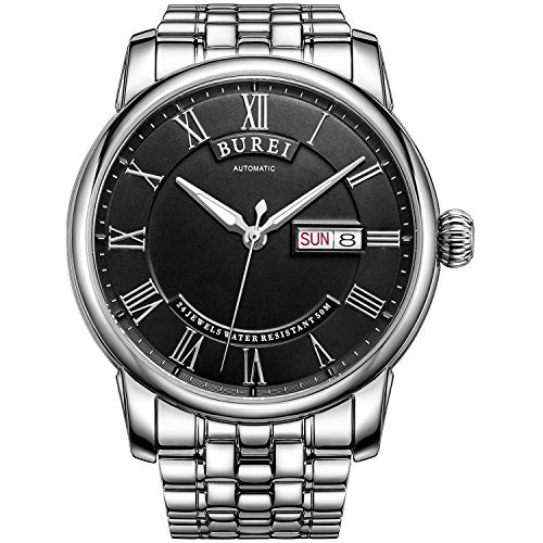 Burei Herren Automatik Uhr mit Tag und Datum Schwarz Zifferblatt Metall Band