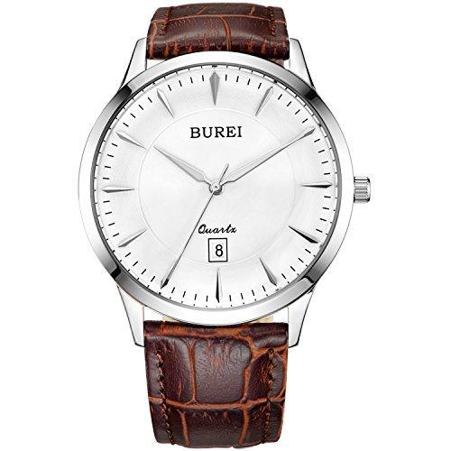 Burei Herren Master II Analog Display Edelstahl Armbanduhr mit Datum