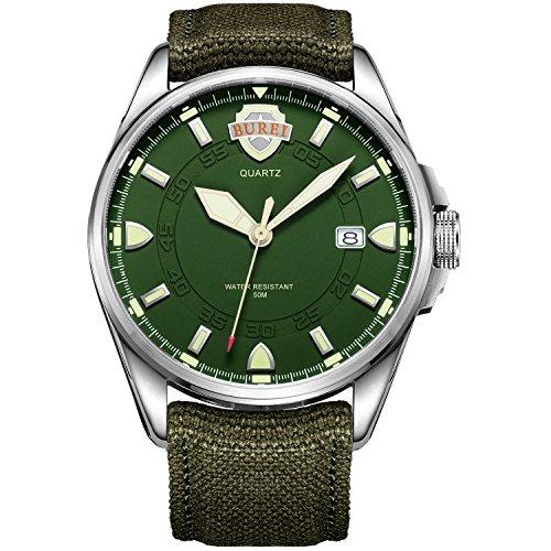 Burei Herren Uhr Luminous Army Style Uhr Sport Uhr Datumsanzeige Wasserdichtuhr