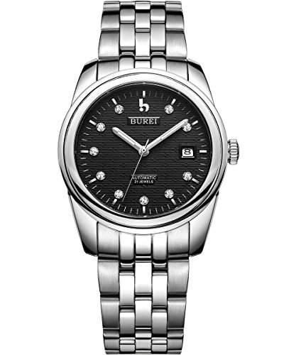Burei Herren Noble Geschmackvolle Design Datumsanzeige Schwarz Zifferblatt Automatik Uhr Armbanduhr mit Edelstahl Armband