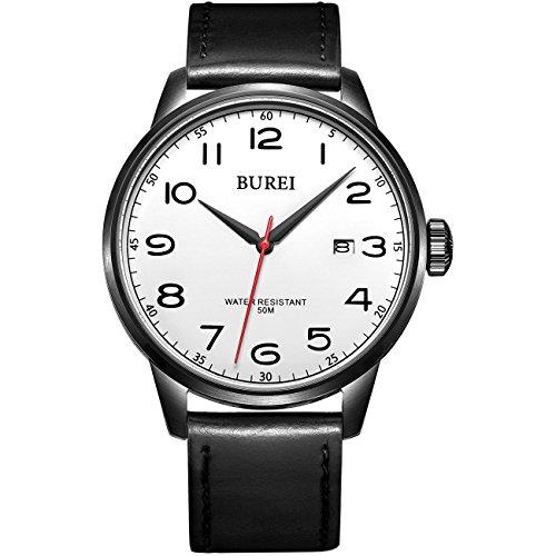 Burei Herren Datum Kalender Quarz einfachen Stil Uhr Armbanduhr mit Lederband