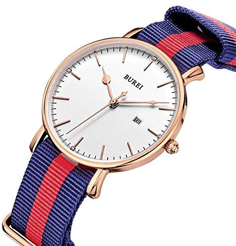 Burei Herren s Rose Gold kratzfestes Saphirglas Objektiv Datum Kalender Praezise Quarz Uhr mit Stoff Armband