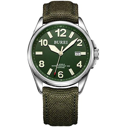 Burei Maenner Militaerstil Automatisch Tagesanzeige Armbanduhr Wasserdichte Armbanduhr mit Canvas Strap Gruen 2