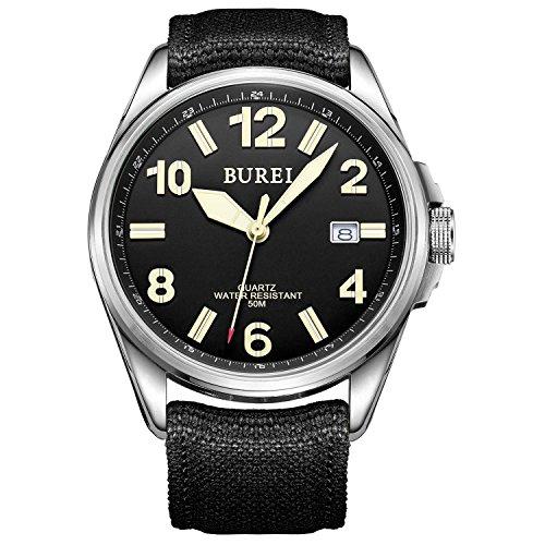 Burei Unisex Militaeruhr mit Datumsanzeige Schwarzem Ziffernblatt und Schwarzem Canvas Armband