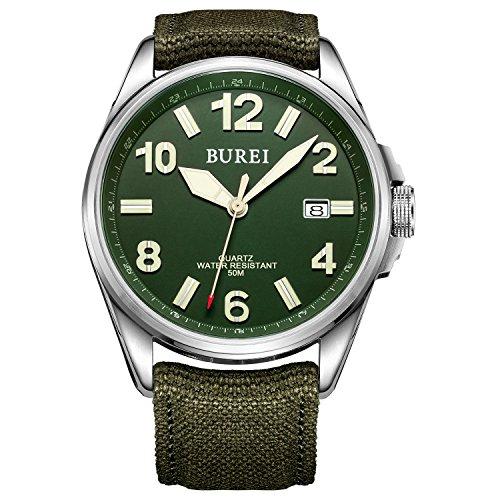 Burei Unisex Militaeruhr mit Datumsanzeige gruenem Ziffernblatt und Gruenem Canvas Armband