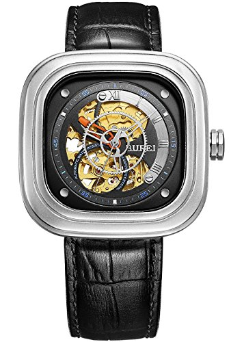 Burei Revolution Analog Display Automatische Skelett Armbanduhr Armbanduhr mit Rindsleder Leder Gurt