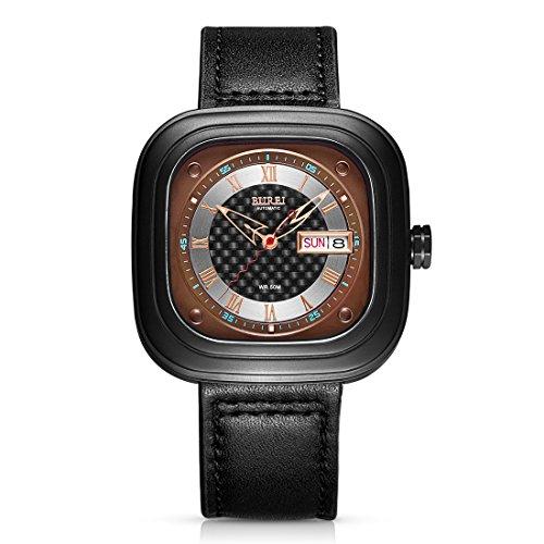 Burei Revolution Analog Display Japanische Automatische Armbanduhr mit Rindsleder Leder Gurt
