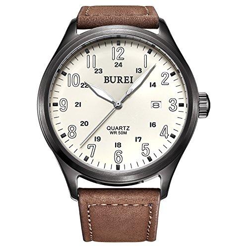 Burei Unisex Quarts Uhr mit weissem Leucht Ziffernblatt und Braunen Lederarmband