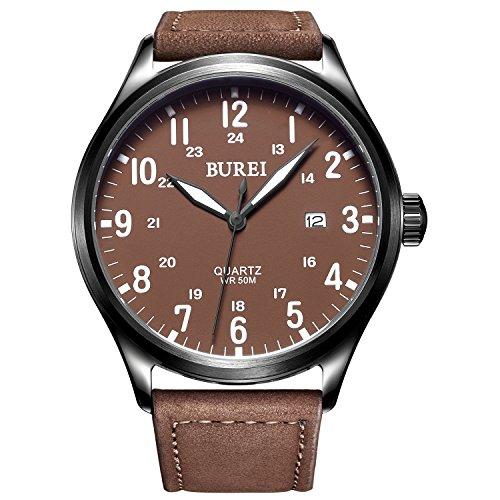 Burei Unisex Uhr mit braunem Ziffernblatt und Lederarmband Datumsanzeige Edelstahlkorpus