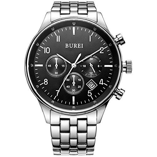 BUREI Chronograph Datumsanzeige kratzfestes Saphirglas Objektiv Multifunktions Stoppuhr Uhr Armbanduhr fuer Herren