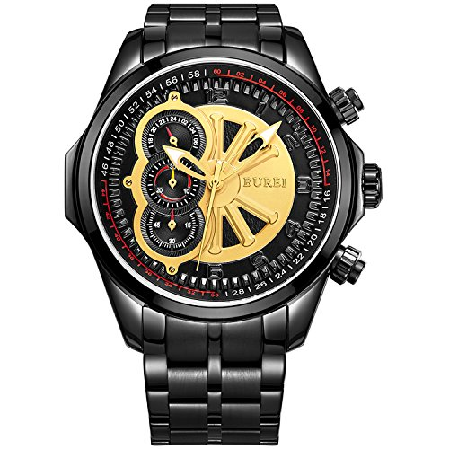 BUREI Herren Chronograph Uhren mit Gold Zifferblatt schwarz Edelstahl Armband