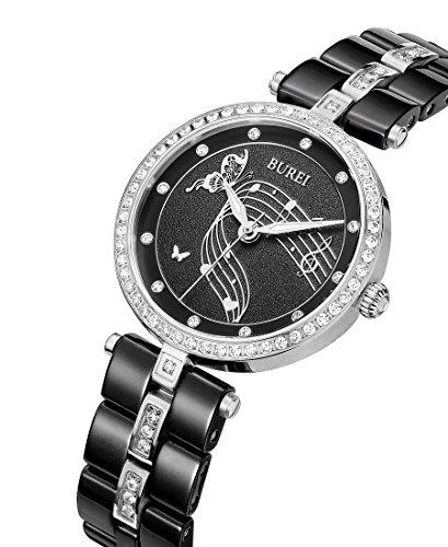 Burei Damen Handgelenk Uhren mit Swarovski crystal accented schwarz Keramik Armband