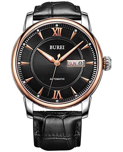 BUREI Unisex Datumsanzeige Uhren Automechanische Uhren Herr Uhren Wasserdicht Uhren Lederband Armbanduhren