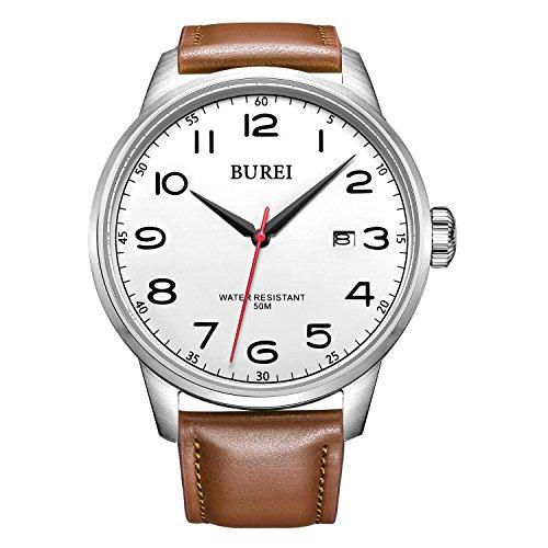 Burei Herren Uhr Datumsanzeige Wasserdicht Quraz Armbanduhr Weisses Zifferblatt mit Braun Leder Armband