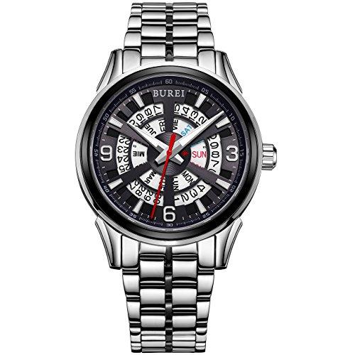 Burei Tag und Datum Display Automatische fuer Herren mit japanischem Edelstahl Armband
