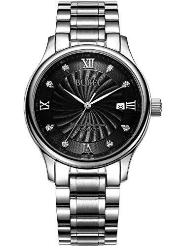 Burei Herren Datum Display Analog automatische Wasserdicht Armbanduhr Armbanduhr mit Edelstahl Armband fuer Herren
