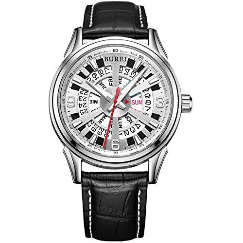 Burei Tag und Datum Display Japanische Automatik Uhr Armbanduhr mit schwarz Kalbsleder Leder Gurt