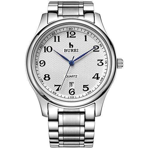 BUREI Edelstahl Armband Uhr Analog fuer Herren mit Metallarmband in Silber