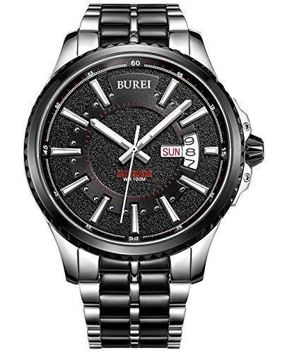 Burei Herren Edelstahl Luminous Tag und Datum Automatik Uhr mit zweifarbigen Link Armband