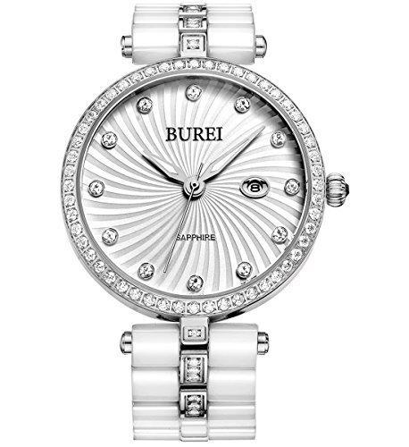 Burei Damen Elegant bl 3029la 01 a Swarovski crystal accented Keramik weiss Uhr mit Armband Link