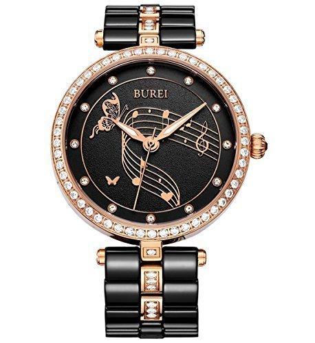 Burei Elegant Damen Swarovski crystal accented schwarz Keramik und Rose goldfarbene Armbanduhr