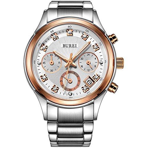BUREI Rose Goldene Frauenuhr mit Datum Analog und Edelstahl Armband