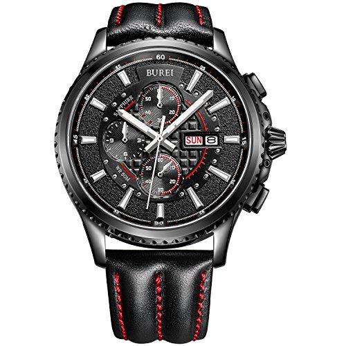 BUREI Herren Armbanduhr Chronograph Analog Quarz Lederband Sport Schwarz mit Rot Armbanduhr Wasserdicht Uhr kratzfeste Uhr